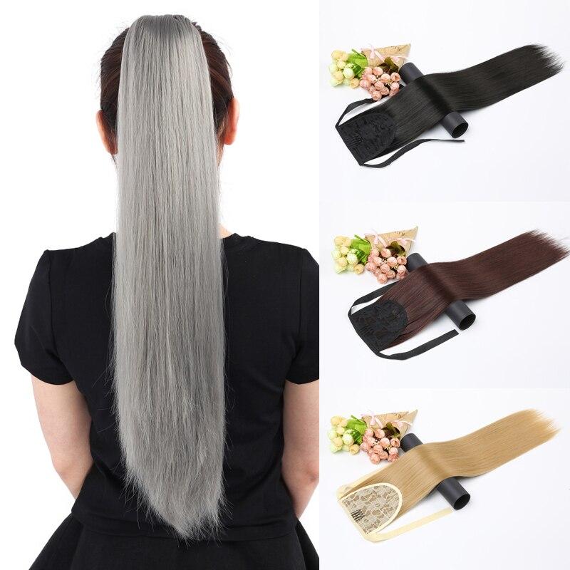 Длинные прямые накладные волосы LISI на заколках, накладные волосы в виде хвоста с заколками, синтетические накладные волосы в виде хвоста пони|Синтетические хвостики|   | АлиЭкспресс