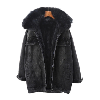 Winter Denim Jacket Women Rabbit Fur Liner Jeans Jacket Real Fox Fur Collar Outwear Vintage Plus Size Loose Thick Warm Jean Coat image