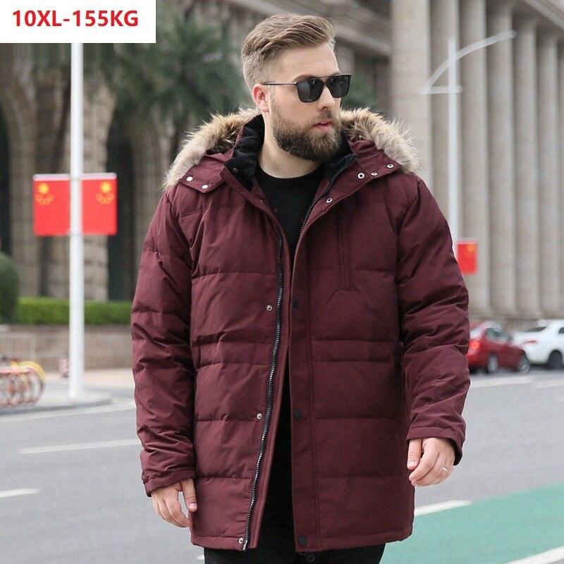 Haute qualité hommes doudoune chaude à capuche épaisse grande taille 10XL 9XL 8XL 7XL bas manteaux oversize 130KG 140KG 150KG lâche manteau 60