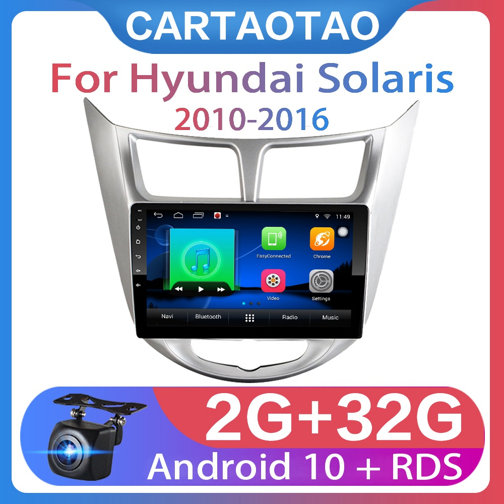 "New ! 9"" 2din Android 10 Car DVD Player for Hyundai Solaris Accent Verna 2010 2016 Car Radio GPS Navigation WIFI MP5 Player