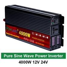 Micro convertisseur de tension à onde sinusoïdale pure pour voiture, onduleur électrique de 12 V, 220 V, 2000 W, 3000 W, 4000 W, 24V CC à 110V CA