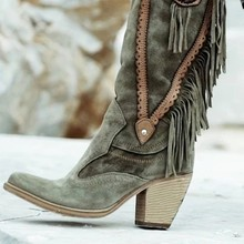 Vrouwen Etnische Stijl Mid Buis Hoge Hakken Stijlvolle Warme Vacht Laarzen Suede Laarzen Lange Fringe Winter Geborduurd Boot Mode(China)