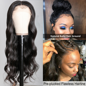 Image 2 - Brazilian 13x4 Lace Front Wig Pre Plucked Body Wave Human Hair Wigs with Baby Hair Ali Julia Lace T Part Closure Wig Fake Scalp