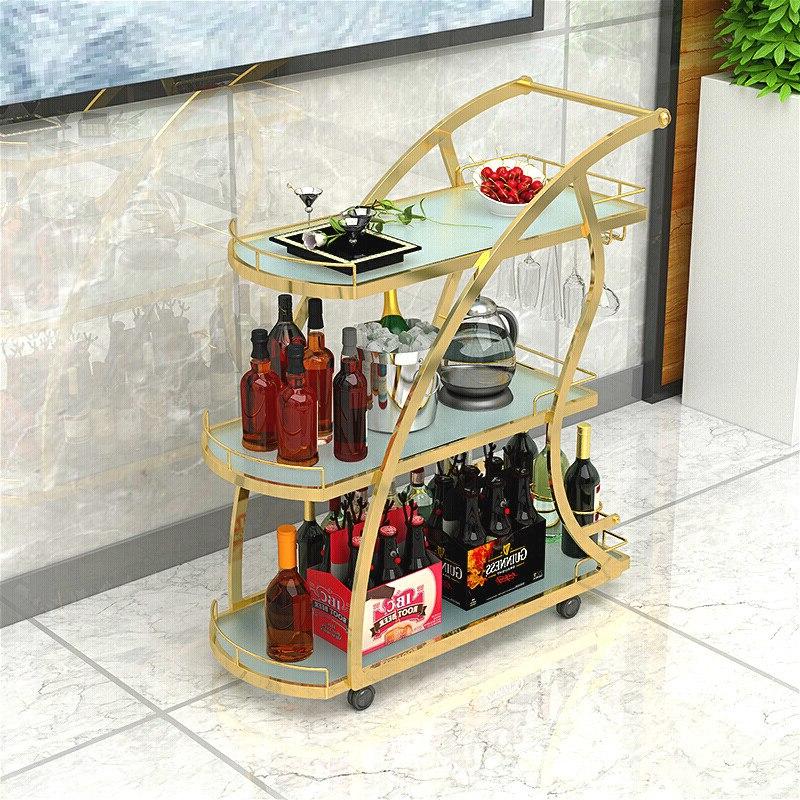 Nordic Mobile Restaurant Dining Car Beauty Salon Tea Wine Trolley Hotel Restaurant Golden Three-tier Trolleys