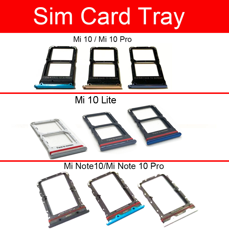 Sim Card Tray Holder For Xaiomi Mi 10 Lite Pro Mi Note 10 Pro Sim Tray Micro SD Card Holder Slot Adapter Repalcement Parts