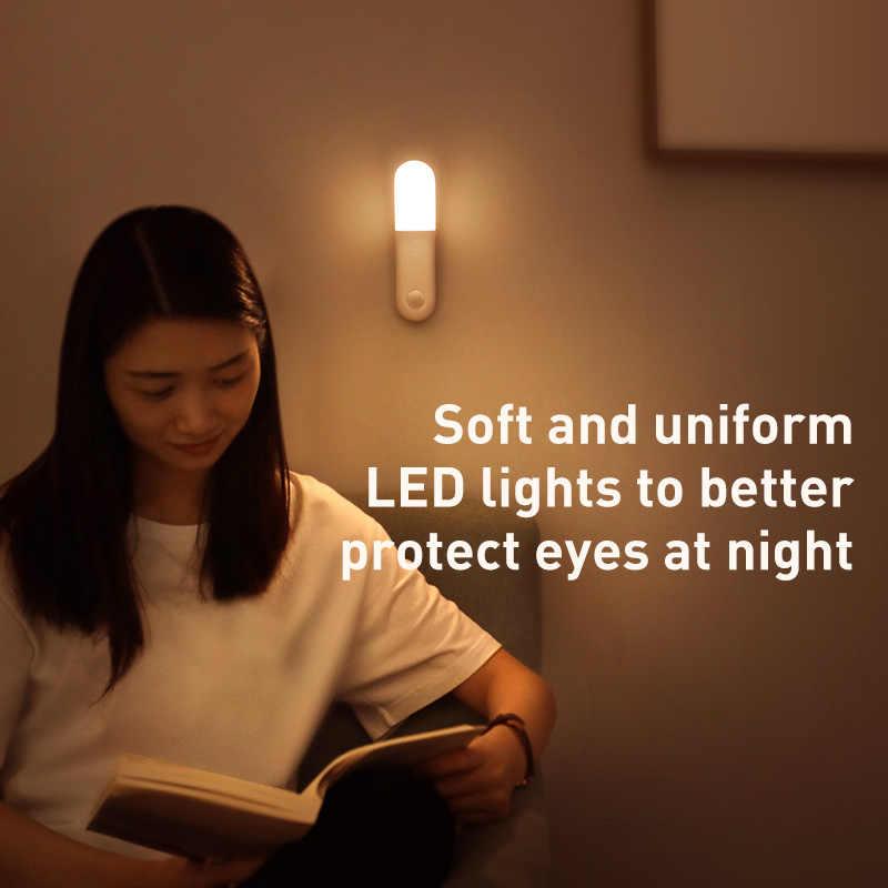 Baseus التلقائي التعريفي درج مصباح ليد PIR محس حركة أضواء ليلية قابلة للشحن وحدة إضاءة LED جداريّة مصباح لغرفة النوم السرير المطبخ