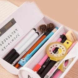 새로운 Kawaii 연필 케이스 미러 계산기와 더블 레이어 펜 상자 화이트 보드 펜 와이퍼 학교 용품 화장품 케이스