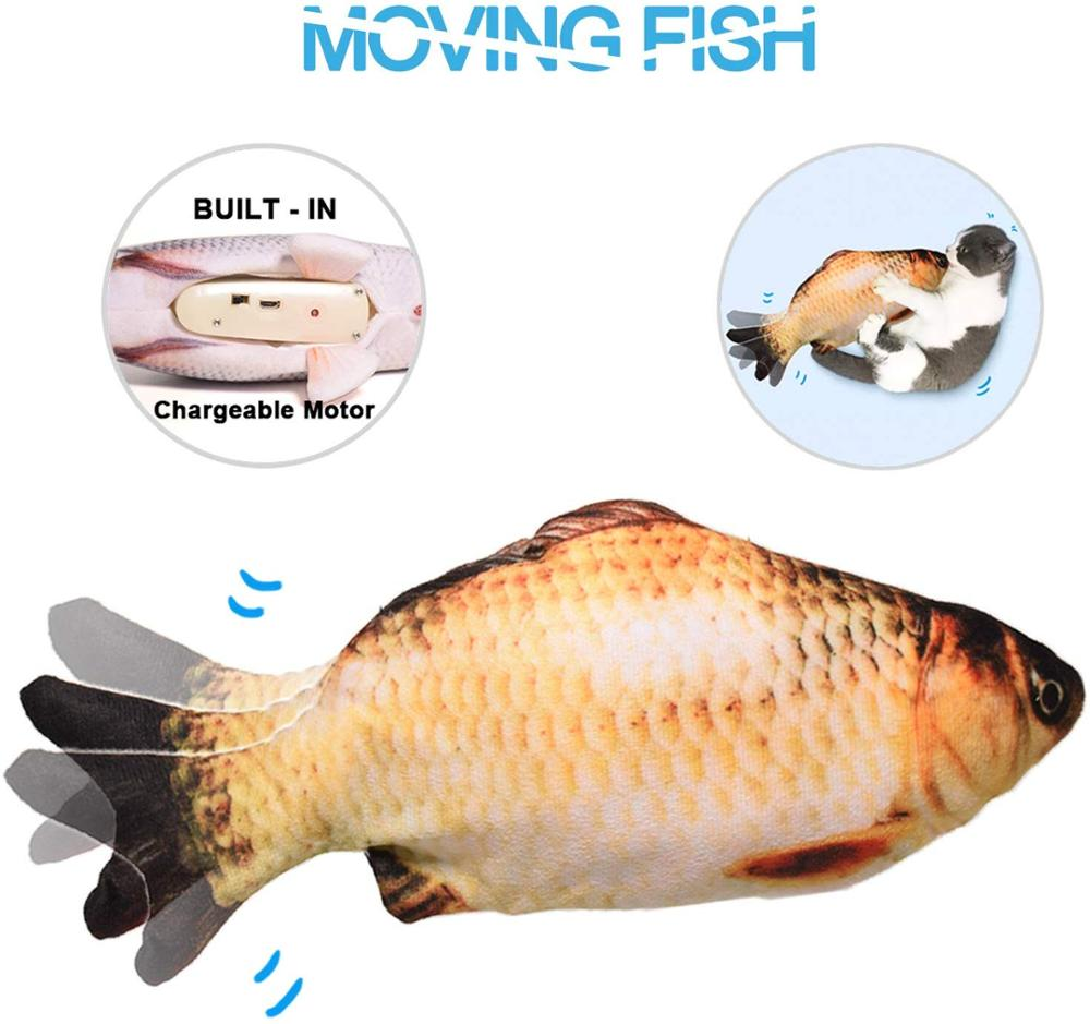 Realistic Plush Simulation Electric Doll Fish, Dancing Moving Funny Interactive Pets Toys USB Charging Gifts For Childen Cat