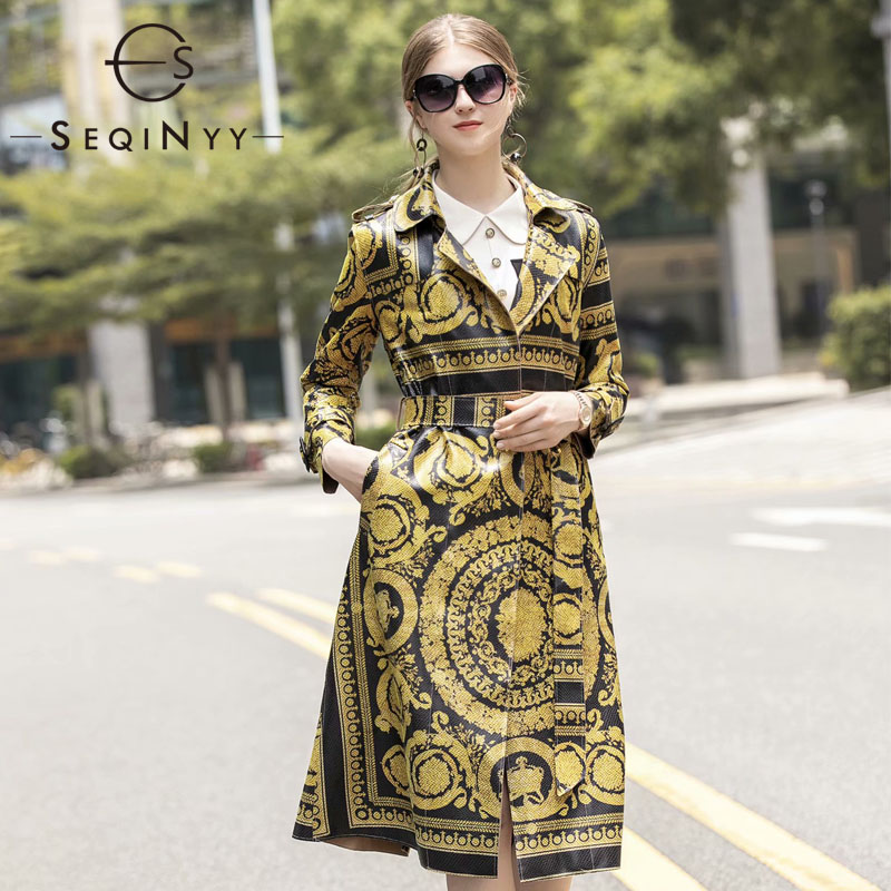 SEQINYY   Trench   Coat 2020 Autumn Winter New Fashion Design Long Sleeve High Quality Golden Flowers Printed Vintage Long Top
