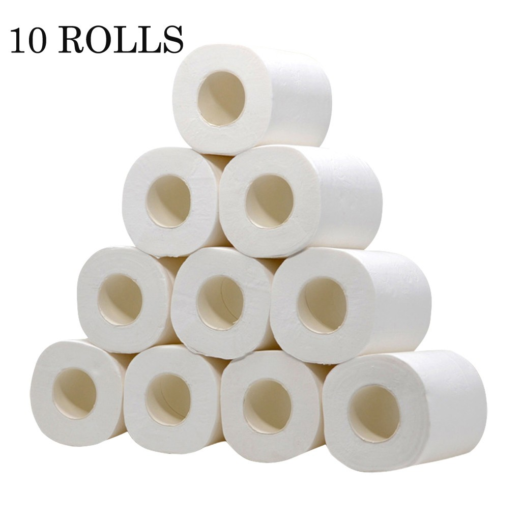 10pcs/ Lot 3Ply White Toilet Paper Toilet Roll Tissue Roll Pack Paper Towels Tissue Household Toilet Paper Toilet Tissue Paper