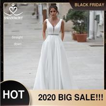 Swanskirt Crystal Satin Wedding Dress 2020 New Vintage V neck A Line With Pockets Bridal gown Plus size Vestido De Noiva N114