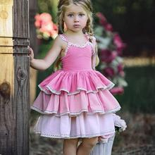 Kid Girl Princess Dress Sling Bowknot Lace Gradient Pink Cake Dress Summer Sundress Girl Dress Sleeveless fashionable women s bowknot decorated sleeveless pink round neck dress