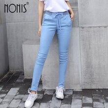 Nonis весенние женские новые тонкие обтягивающие хлопковые брюки на шнурке с эластичным поясом и карманами, длинные брюки-шаровары, женские повседневные брюки