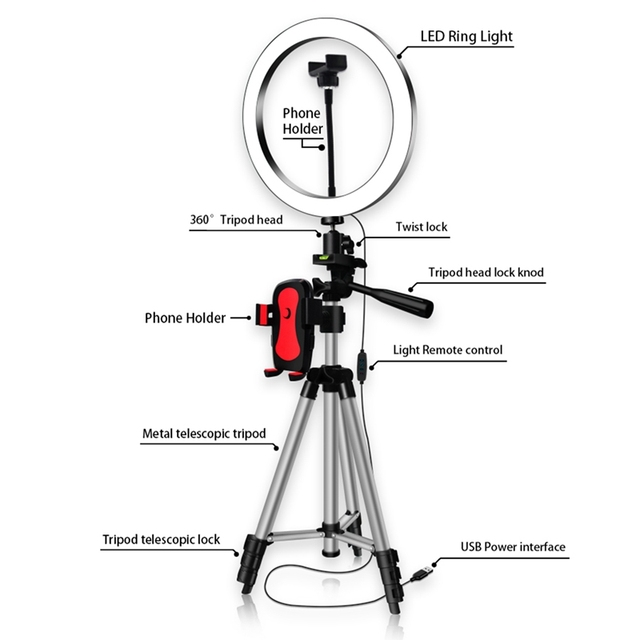 Phone Tripod Holder Clip With Led Ring Light Camera Photography Annular Lamp Studio Ringlight For Youtube Makeup Phone Self