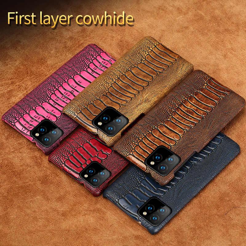 LANGSIDI genuino de cuero de avestruz funda para teléfono para iPhone x xr xs max 8plus 8 7 7plus 6 6s plus 11 pro max se 2020 cubierta de lujo