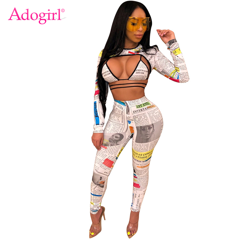 Adogirl Newspaper Print Women Sexy 3 Piece Set Crisscross Lace Up Bra Long Sleeve Crop Top T Shirt Pencil Pants Club Suits