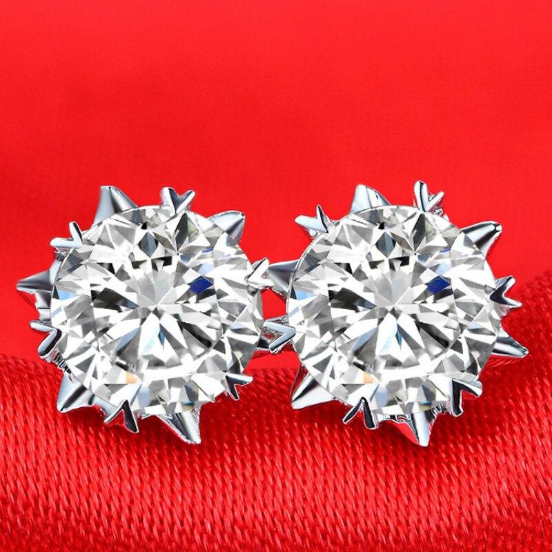Kpop argent 925 flocon de neige boucles d'oreilles bijoux haute qualité CZ boucle d'oreille luxieux femmes fête boucles d'oreilles 0.5ct, 1ct en gros