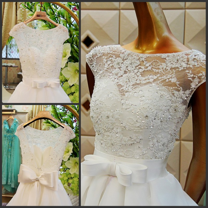New Hot Sexy Backless Bow Cap Sleeve Organza Cheap Lace Wedding Dress Ball Gown 2016 Fashionable Casamento Vestidos Bridal Gowns