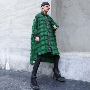 Image 5 - [EAM] Women Green Tassels Big Size Long Blouse New Lapel Long Sleeve Loose Fit Shirt Fashion Tide Spring Autumn 2020 1D618