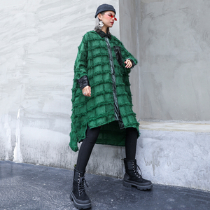 Image 5 - [EAM] נשים ירוק גדילים גדול גודל ארוך חולצה חדש דש ארוך שרוול Loose Fit חולצה אופנה גאות באביב סתיו 2020 1D618