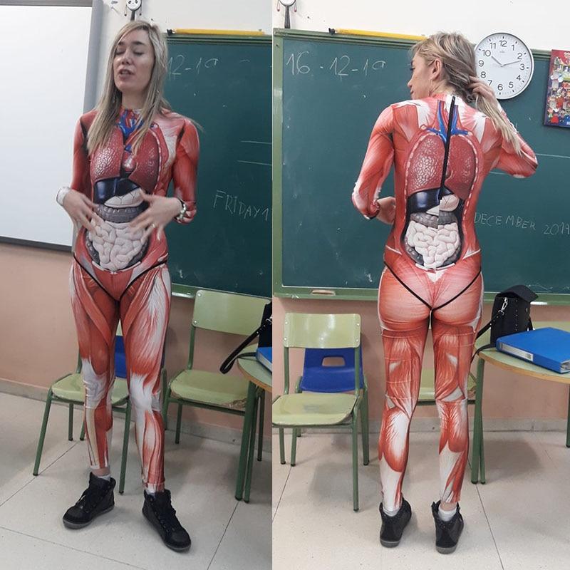 Verónica Visceral Garments Organ Human Tissue Teaching Clothes 3D Printed Long Sleeve Zippered Swimsuit Swimwear Women