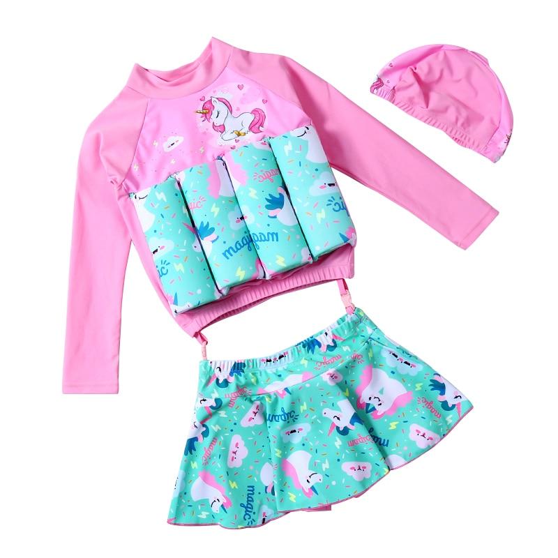 Baby One-Piece Floating Swimsuit Safety Float Swimwear Bathing Suit Toddler Girl's Swim Dress UPF50+ UV Protective Sunsuit