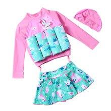 Baby One-Piece Maiô Flutuante Float Swim Vestido Maiô Swimwear da Menina da criança de Segurança UPF50 + Proteção UV sunsuit