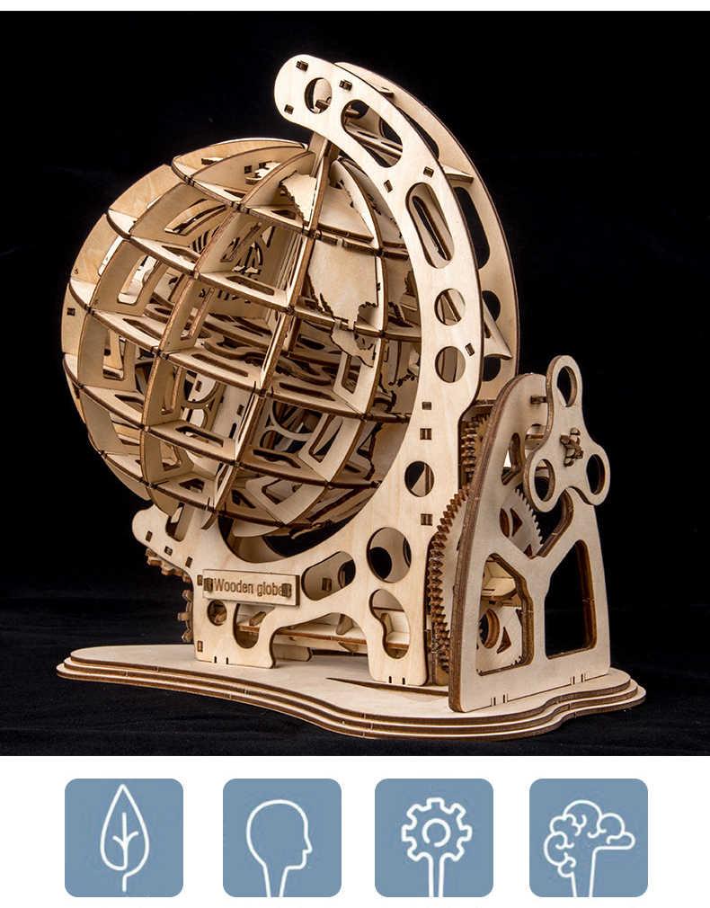 DIY ציוד כונן עץ גלובוס הרכבה פאזל מכאני tellurian דגם ערכת ילדים למבוגרים מתנה חינוכי צעצוע אבני בניין