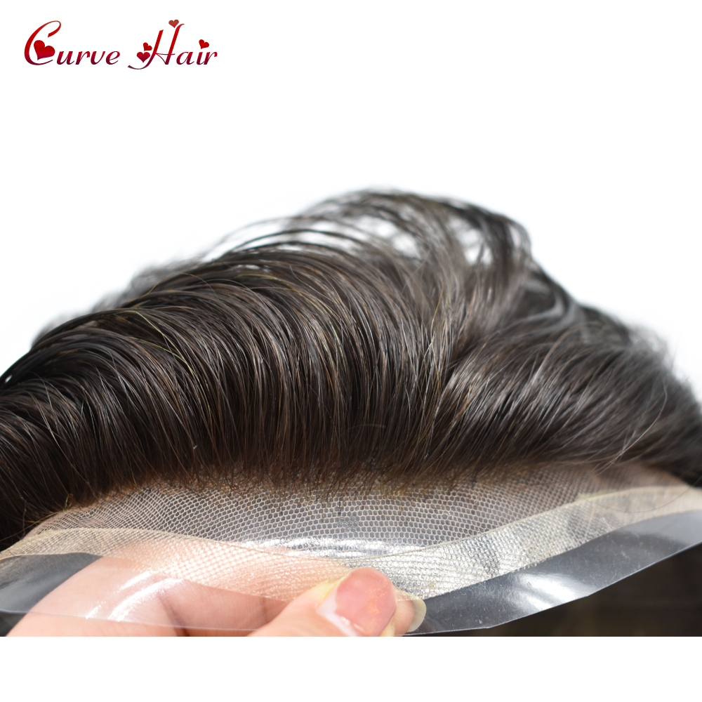 Natural Black Skin Toupee For Men 120% Light To Medium Density French Lace Front 100% Human Hair System Hairpiece 1B#