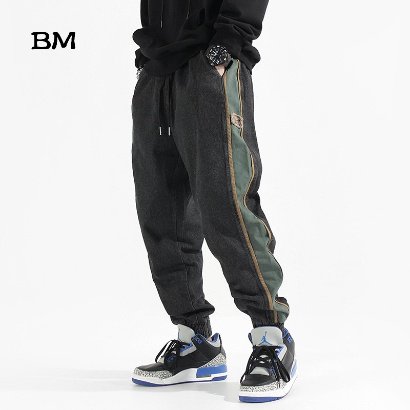 2019 Fashions Side Striped Balck Jeans Men Korean Style Clothes Hip Hop Jogger Jeans Harajuku Mens Denim Pants Baggy Trousers