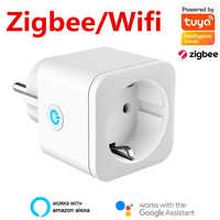 Enchufe inteligente Zigbee/WiFi, adaptador de la UE, Control remoto inalámbrico por voz, Monitor de energía, toma de corriente con temporizador para Alexa y Google Home