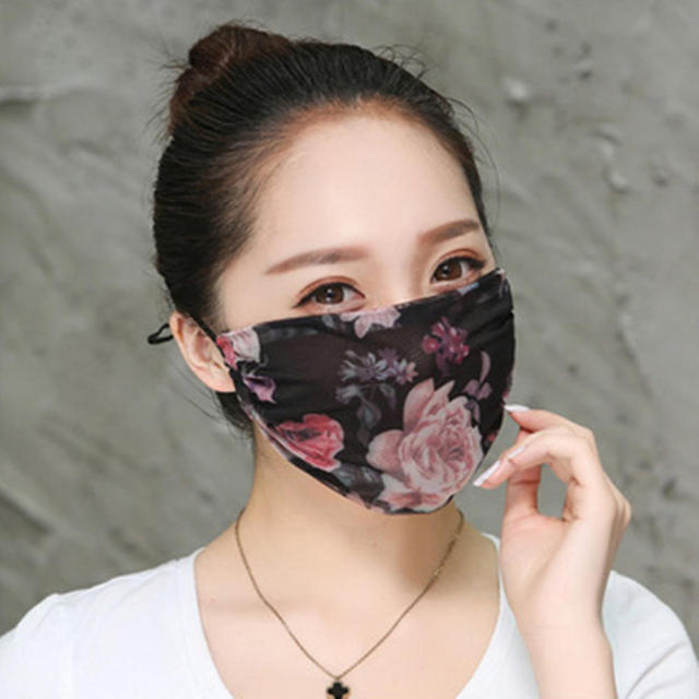 Hot New Korean Version Of Lady Chiffon Floral Female Summer Ultra-thin Sunscreen And Breathable UV Protection Mask Thin Masks 1