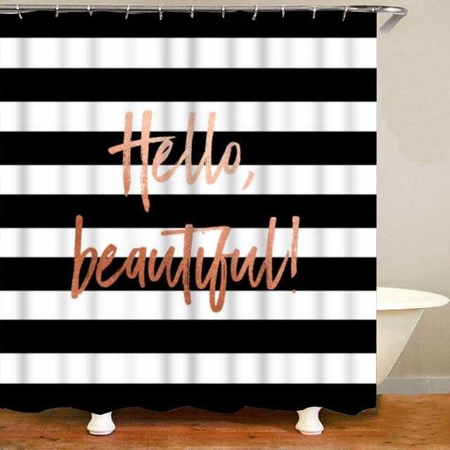 trendy black rose gold beautiful shower curtain set for bathroom 4pcs hello gorgeous beautiful bath curtains mats rug home decor