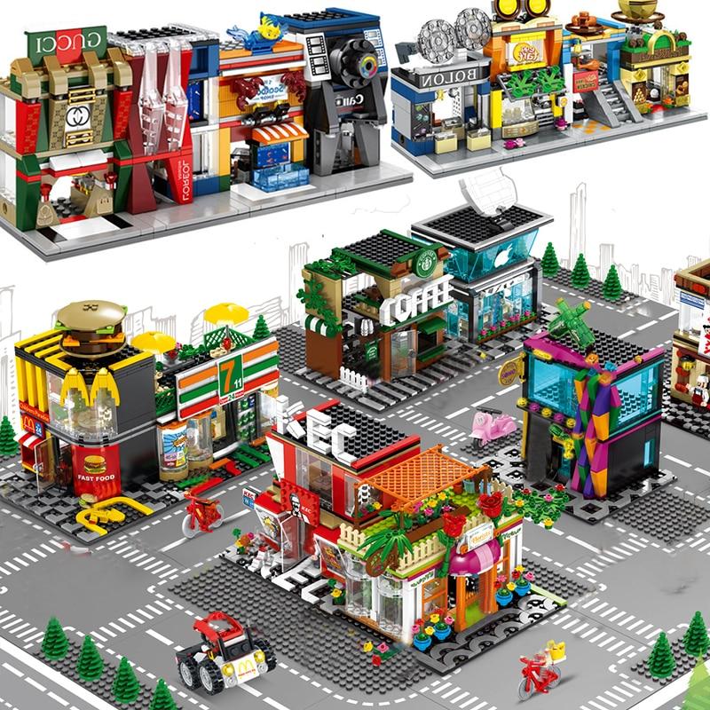 Compatible legoed Architecture retail shop city mini store shopping mall street town model sets building blocks bricks kids toys