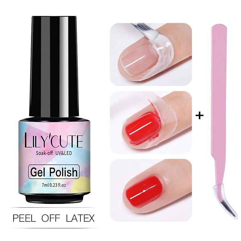 Латексная жидкость LILYCUTE для дизайна ногтей, антизамерзающая, с пинцетом, 5/7 мл, для удаления кутикулы, лак для ногтей, латекс для нейл-арта