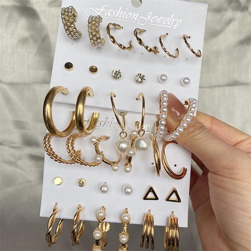 Модные золотые набор серег-колец женские жемчужные серьги в виде колец, оверсайз, украшенные металлическим кольцом серьги в стиле панк 2021 д...