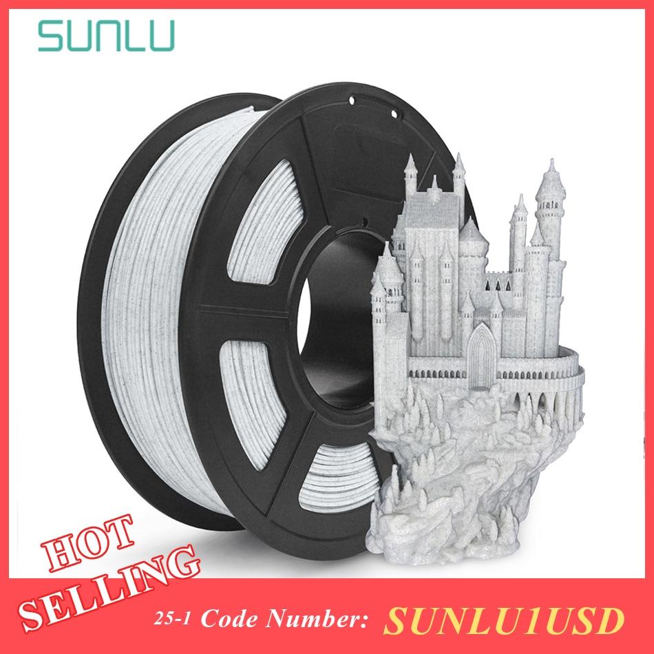 SUNLU, filamento 3d PLA de mármol, 1,75 MM, 1 KG, textura de roca, Color de mármol, impresora 3D, filamento de impresión, precisión de dimensiones +/-0,02mm