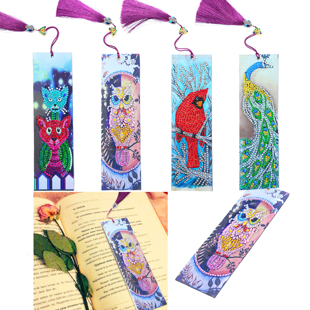 HUACAN Special Shaped Diamond Painting Leather Bookmark Diamond Embroidery Craft Tassel Book Marks For Books Christmas Gifts