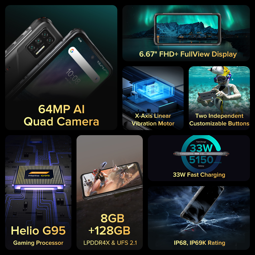 UMIDIGI BISON GT impermeabile IP68/IP69K Helio G95 telefono robusto 64MP AI Quad Camera 8GB 128GB 6.67  2