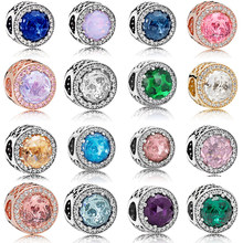 2021 New 925 Sterling Silver Beads 20 Colors Sparkling Charm Fit Original Pandora Bracelet Women Jewelry Making Gift