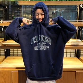 Hoodies Women Hooded Warm Thicker Plus Velvet Letter Printed Loose Long Sleeve Womens Hoodie Korean Style Harajuku Chic Leisure цена 2017