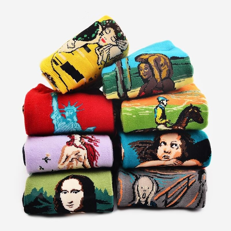 Autumn Winter Famous Art Oil Painting Sock Unisex Retro Van Gogh Mural World Mona Lisa Gustav Klimt Long Sock Cotton Funny Socks