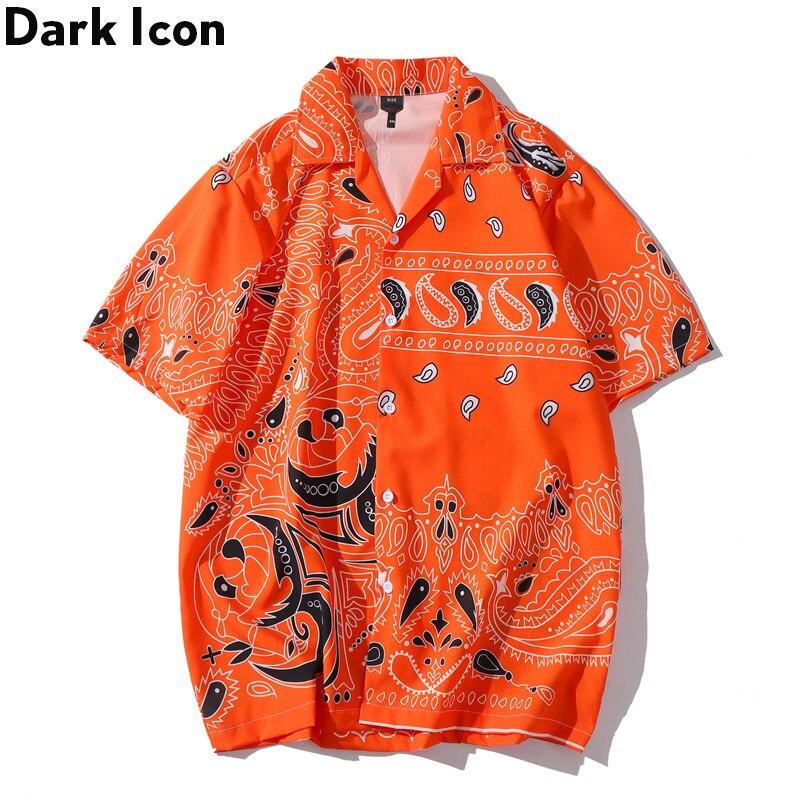 Dark Icon Orange Bandana Hawaiian Shirt Men Women 2020 Summer Vintage Men's Shirt Street Fashion Shirts for Men