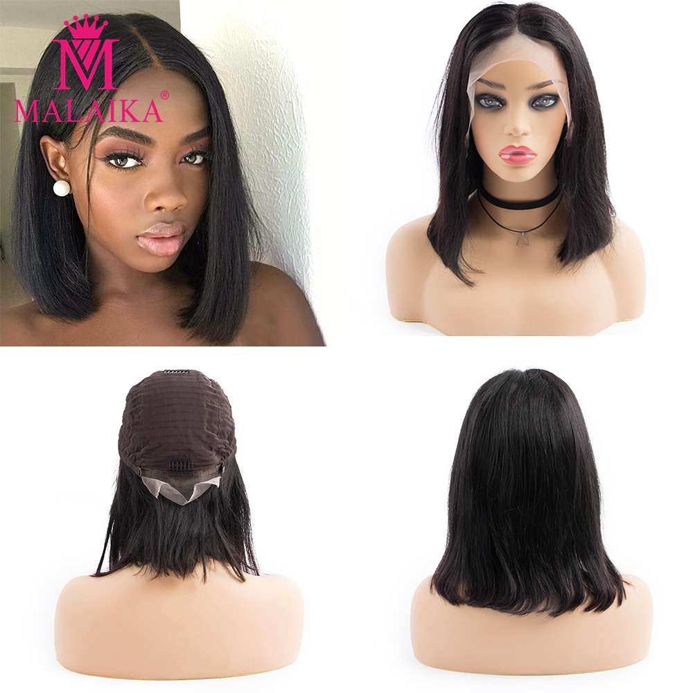 MALAIKA Short Bob Lace Front Human Hair Wig Brazilian Straight Glueless Wig Natural Color Human Hair Lace Wig