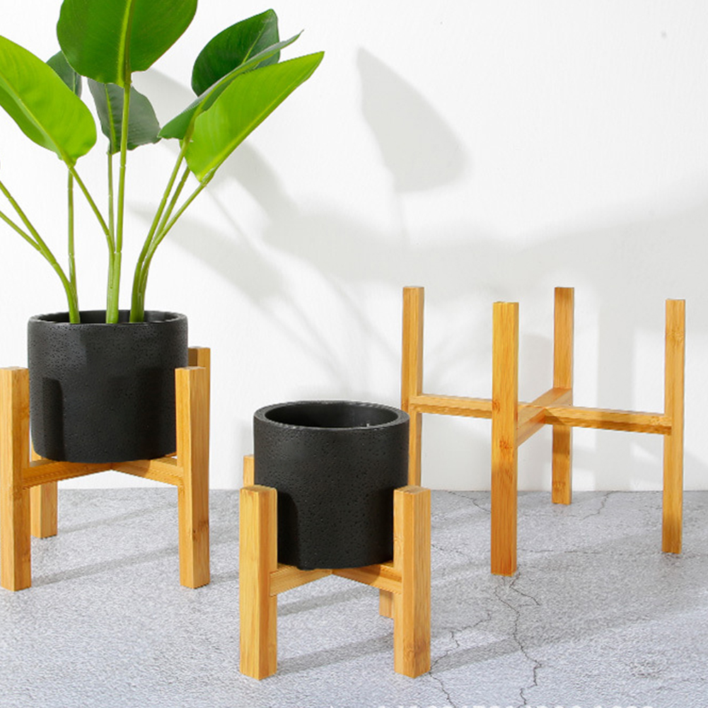 Free Standing Bonsai Holder Home Balcony Bamboo Wood Flower Pot Holder With Foot Pad Smooth Surface Modern Shelf For Office