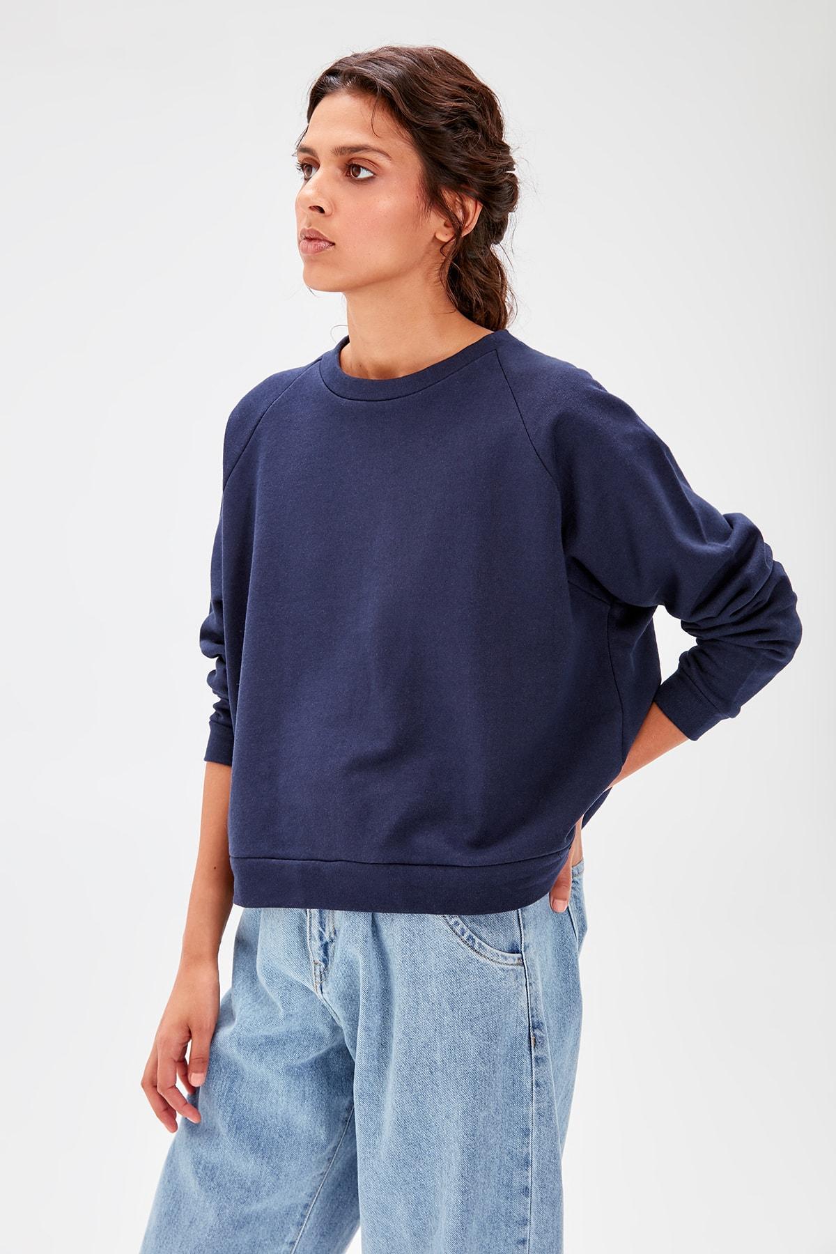 Trendyol Navy Blue Basic Knitted Sweatshirt TWOAW20SW0055