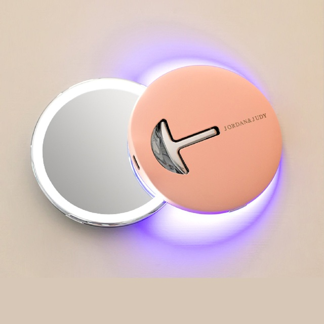 Jordan&Judy 1pc Mini Makeup Mirrors Portable Folding Cosmetic Tools With LED Magnification Round Mirror For Travel Bathroom Gift 2
