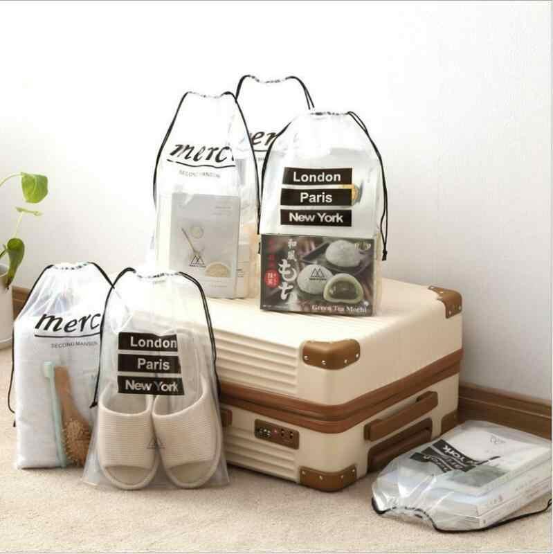 Transparent voyage stockage chaussures sous-vêtements cosmétique sac de rangement bagages voyage coffre sous-paquet PVC étanche étui 5 pièces