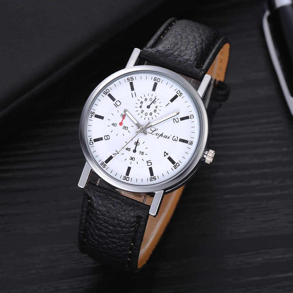 Mode Männer Uhr Top Marke Luxus Uhr PU Leder Band Analog Quarz Armbanduhr Student Uhr erkek kol saati reloj hombre %