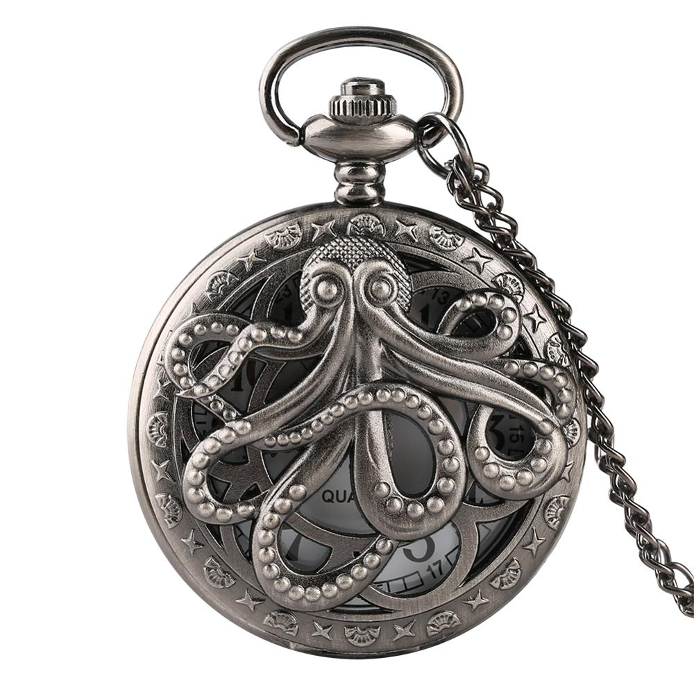 Hollow Half Octopus Vintage Quartz Pocket Watch  Retro Grey Necklace Pendant Clock For Men Women Reloj